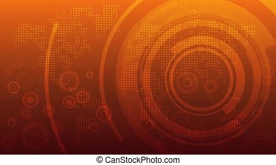 Multi-layered hi-tech background with random dots, forming a stylised map of the world, and circular graphics. The first and last frame match for looping possibilities. HD 1080p quality 29.97fps.