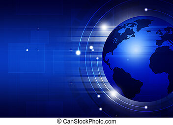 Global Technology Blue Business Background