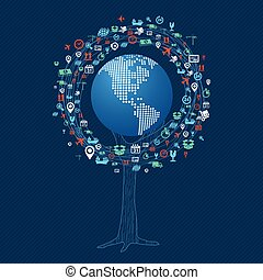 Global technology communication tree concept
