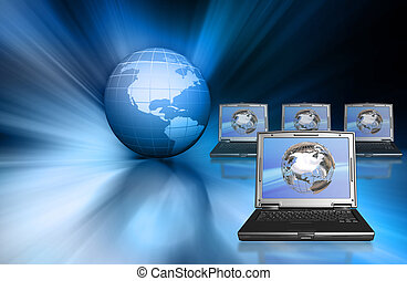 Global technology - Conceptual image depicting global ...