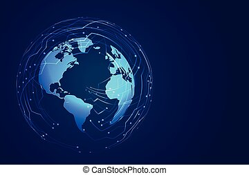 global technology earth digital background with circuit diagram
