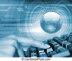 Global technology image - Blue globe on the digital...
