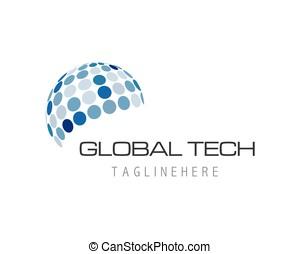 Global technology logo template vector