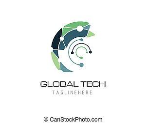 Global technology logo vector template