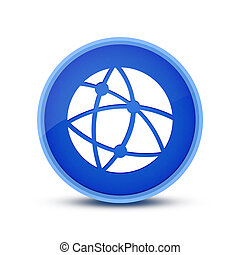 Global technology or social network icon isolated on blue glassy round button abstract
