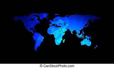 Global technology world map with digital decoration, flat Earth, globe worldmap icon, 3d rendering