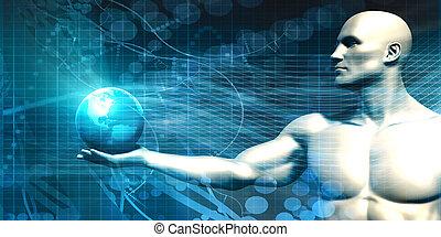 global, tecnologia, conceito