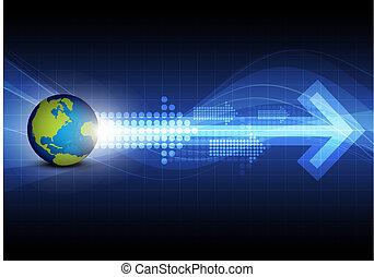 global, tecnologia, seta, fundo