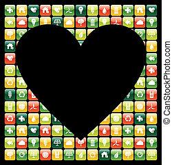 global, teléfono móvil verde, apps, amor