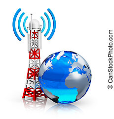 Creative abstract global wireless telecommunication technology and internet connection business concept: blue Earth globe with transmitter antenna pylon isolated on white background with reflection effect