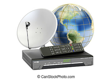 Global telecommunications concept. Digital satellite receiver with satellite dish and Earth, 3D rendering