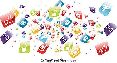 global, telefone móvel, apps, ícones, respingo