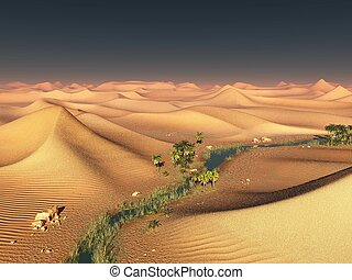 Global temperature change idea. solitary sand ridges under...
