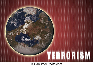 Global Terrorism Abstract Red Background with Earth