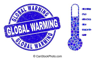 global, thermomètre, mosaïque, timbre, bleu, grunge, chauffage