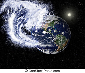 Global threats - A huge wave threatens the planet. Elements ...