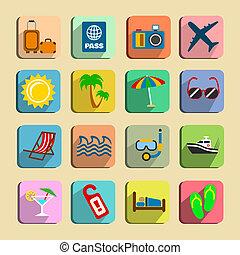 Global tourism icons set