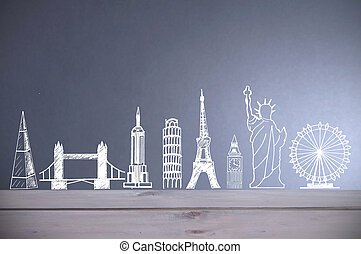 Global tourist landmarks skyline