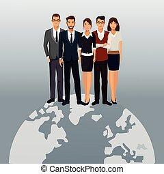 global, trabalho equipe, pessoas negócio