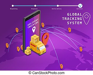 Global tracking system Delivery service online isometric design with smartphone, truck, boxes on map Earth. GPS navigation smart logistics and transportation concept. Vector isolated illustration web, banner, ui, mobile app
