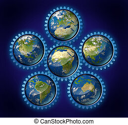 World industry network represented by earth hemispheres representing global economic regions of international trade using cogs and gears as a symbol.