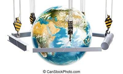 Global trade of rolled metal products rotation around Earth globe animation concept, 3D rendering isolated on white background
