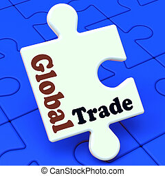Global Trade Puzzle Showing Multinational Worldwide International Business