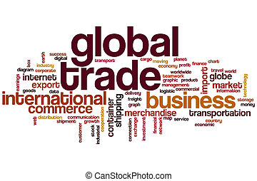 Global trade word cloud concept