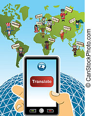 World map and hand with smartphone translation concept background. Vector illustration layered for easy editing.