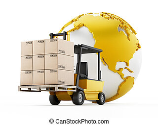 Global transportation and shipping concept with a forklift holding cargo boxes alongside the Earth.