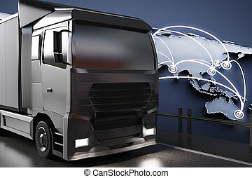 Side view of big truck on abstract map background. Global transportration concept. 3D Rendering