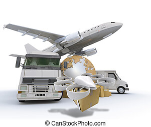 3D rendering of the Earth surrounded by an airplane, truck, van and a flying drone with a package attached