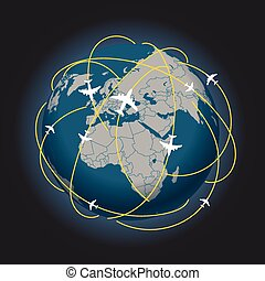 Global travel abstract scheme