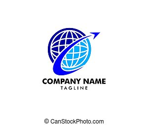 Global Travel Agency Logo Design Element
