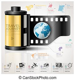 Global Travel And Journey Infographic With Continent Film Diagram Concept