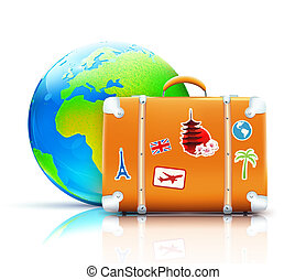 Global travel concept - illustration of global travel...