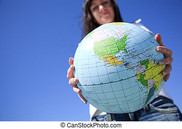 geo concept ,selective focus on nearest part of globe