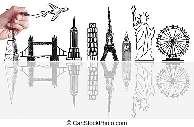 Global travel tourist landmarks skyline sketch