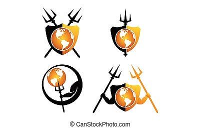 Global trident shield Set
