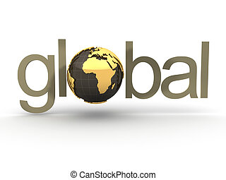 Global typo with Earth globe in place of \'o\' - 3d render