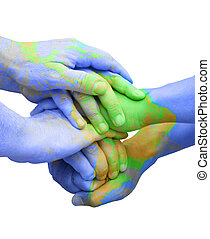 Global Unity for Responsibility - Teamwork Hands Painted...