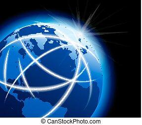 global, värld, med, signaltjänst, omkring, jordklotet
