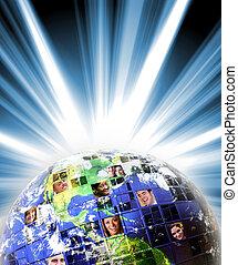 global, världsomfattande, nätverk, av, folk