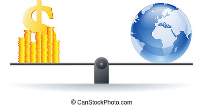 Global Value - Vector illustration of a world globe on a...