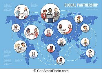global, vecteur, illustration., concept, association, carte, affaires gens, croquis