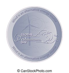 global, vektor, tag, wind, illustration.