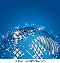 global, vektor, technologie, vernetzung, masche