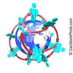 global, verbunden, vernetzung, leute