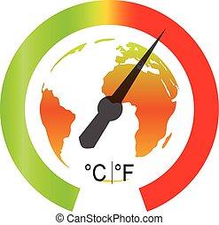 global, vetorial, warming., ilustração