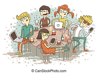 Global village cartoon with a group of youngsters playing with their gadgets. Illustration is in eps10 vector mode.